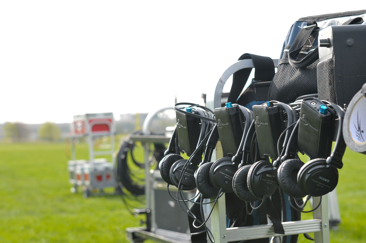 Video production headsets await usage by the HD and 4K video production crew.