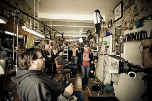 The Red Noise 6 production crew sets up shop at a Barber Shop shoot.