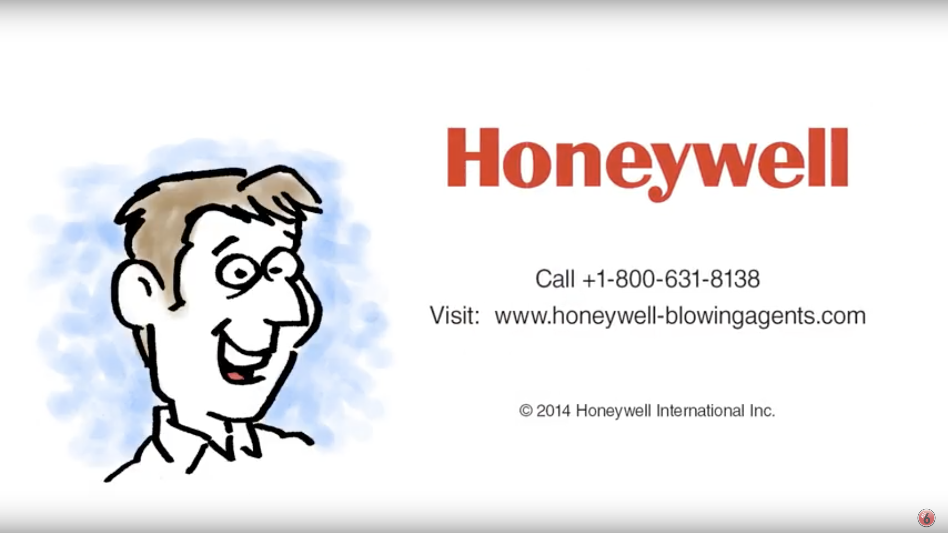 A logo for Honeywell with a phone number reading +1-800-631-8138. Visit the website at www.honeywell-blowingagents.com. Honeywell is a Red Noise 6 client.